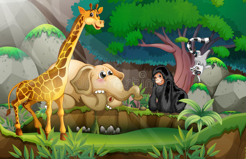 Animales en selva stock de ilustración