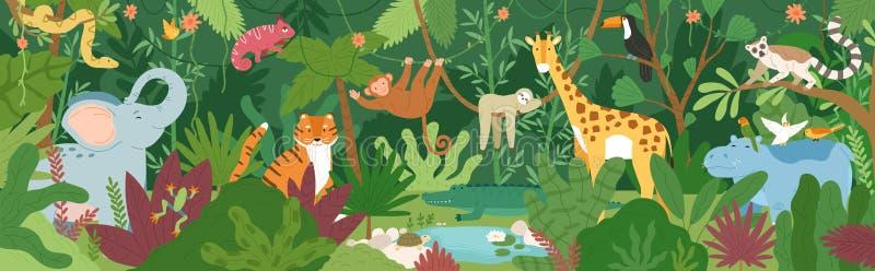 Animales exóticos adorables en bosque o selva tropical tropical por completo de palmeras y de lianas Flora y fauna de las zonas t ilustración del vector