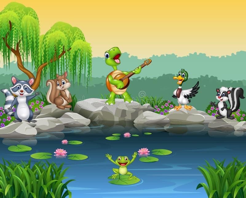 Animales felices de la historieta que cantan la colección ilustración del vector