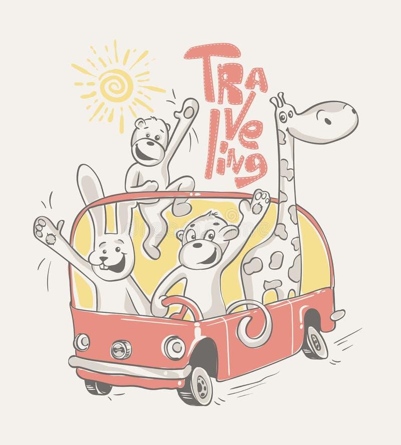 Animales felices que viajan en el autobús Ilustración del vector stock de ilustración