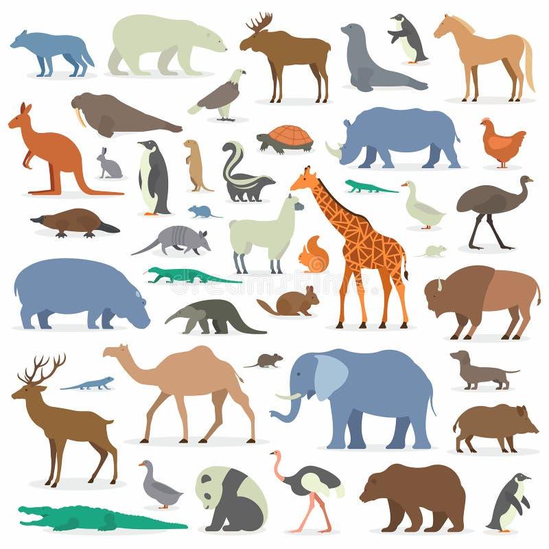 Animales grandes fijados stock de ilustración