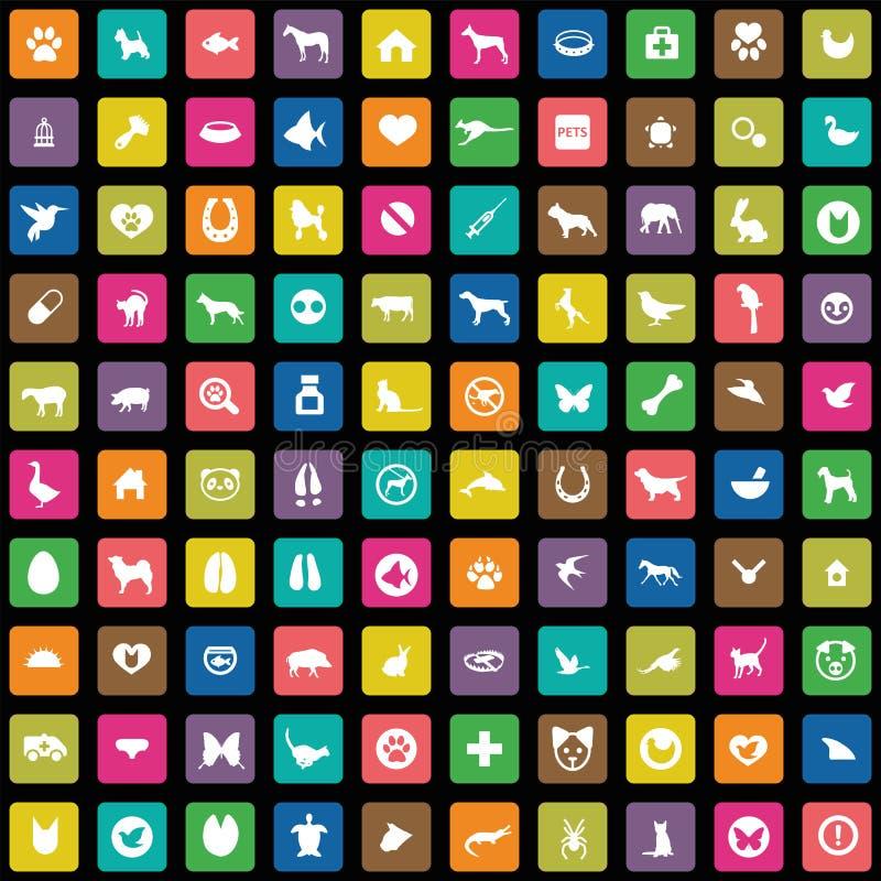 100 animales, iconos de los animales domésticos fijados stock de ilustración