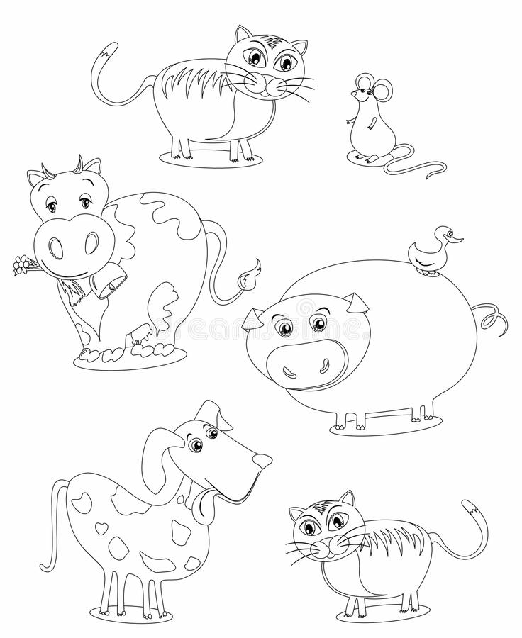 Animales (imagen En Blanco Y Negro Al Color Stock de ilustración ...
