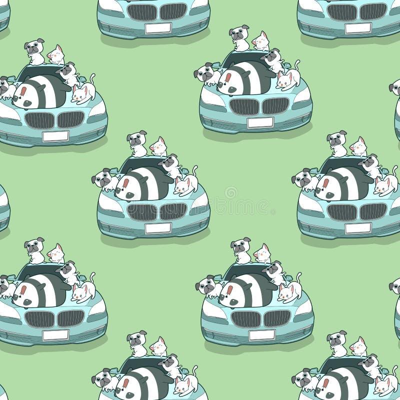 Animales inconsútiles del kawaii y modelo auto azul del coche stock de ilustración