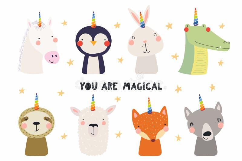 Animales lindos con el sistema del cuerno del unicornio stock de ilustración