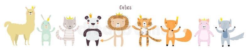 Animales lindos con las coronas libre illustration