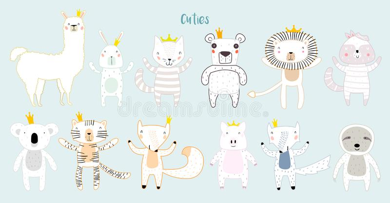 Animales lindos con las coronas ilustración del vector