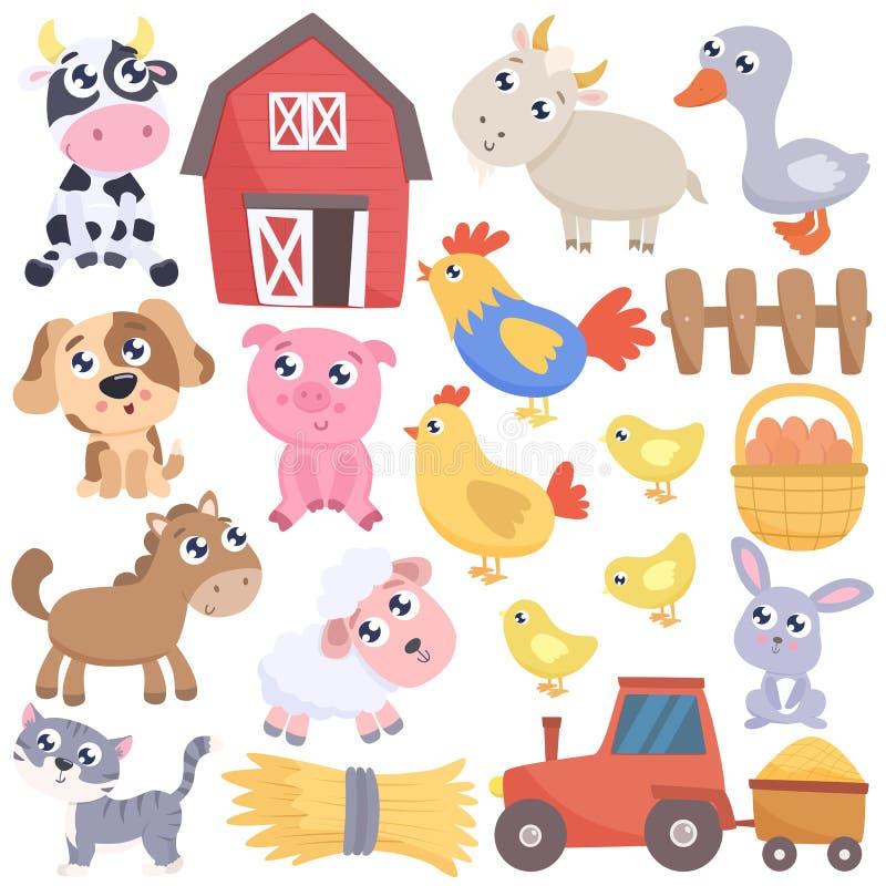 Animales lindos de la historieta de la granja y artículos relacionados Illustr plano del vector stock de ilustración