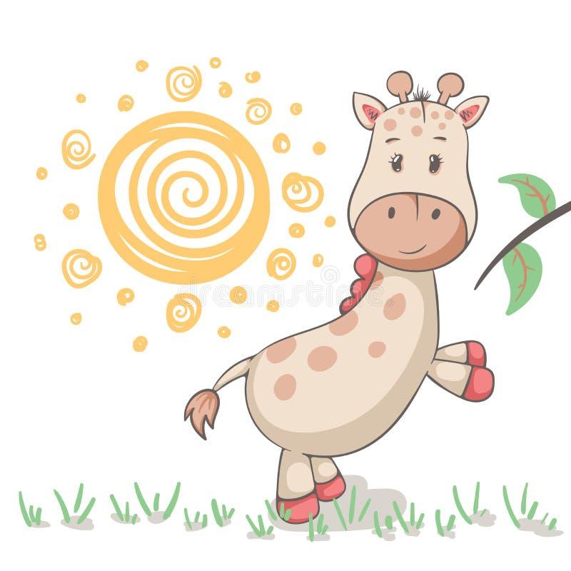 Animales lindos de la jirafa Idea para la camiseta de la impresión libre illustration