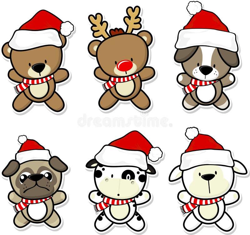 Animales lindos del bebé con el sombrero y la bufanda de la Navidad stock de ilustración
