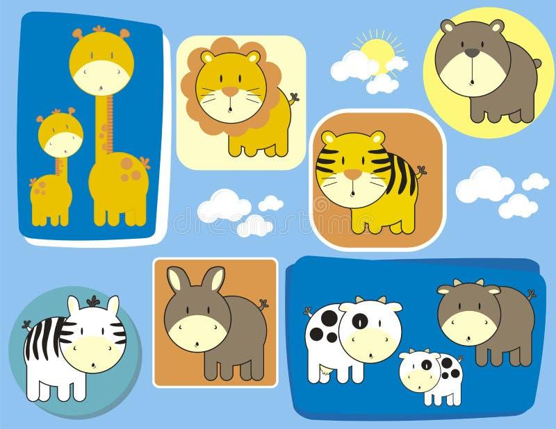 Animales lindos del bebé fijados stock de ilustración