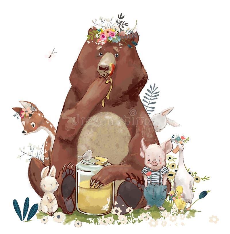 Animales lindos del cumpleaños - oso y otro stock de ilustración