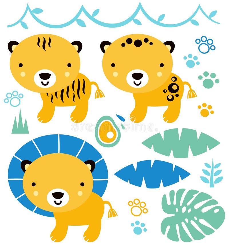 Animales lindos del safari fijados stock de ilustración