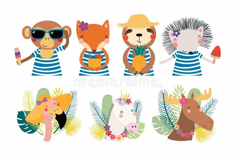 Animales lindos del verano fijados libre illustration