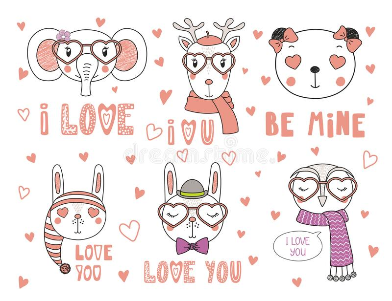 Animales lindos en amor libre illustration