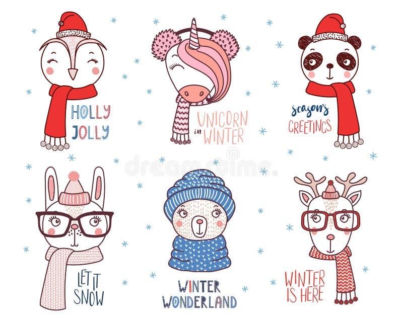 Animales lindos en sombreros calientes con citas libre illustration