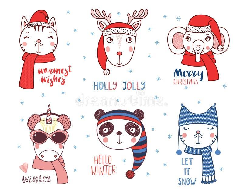 Animales lindos en sombreros calientes con citas ilustración del vector
