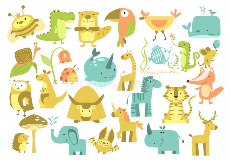 Animales lindos fijados stock de ilustración