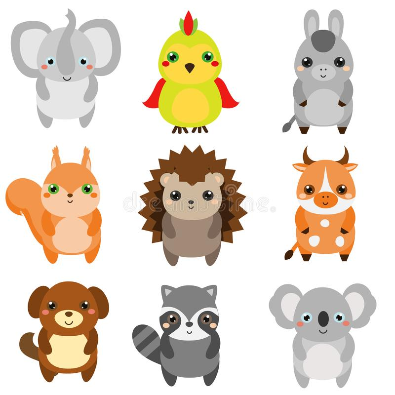 Animales lindos Los niños diseñan, los elementos del diseño, vector Fauna del kawaii de la historieta y animales del campo ilustración del vector
