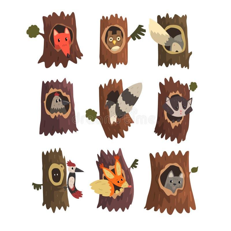 Animales lindos y pájaros que se sientan en el hueco del sistema del árbol, hacia fuera ahuecado del árbol viejo y del zorro, búh libre illustration