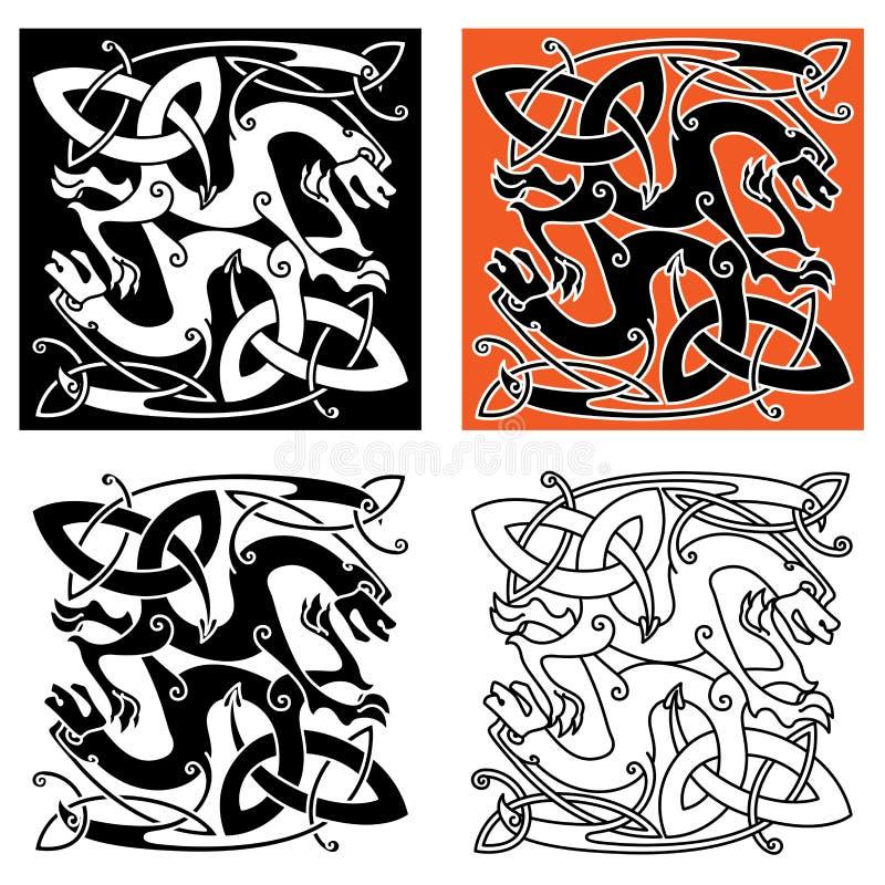 Animales místicos célticos complejos del dragón stock de ilustración