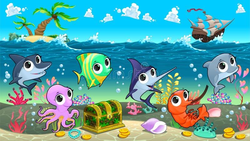 Animales marinos divertidos en el mar con galeón ilustración del vector