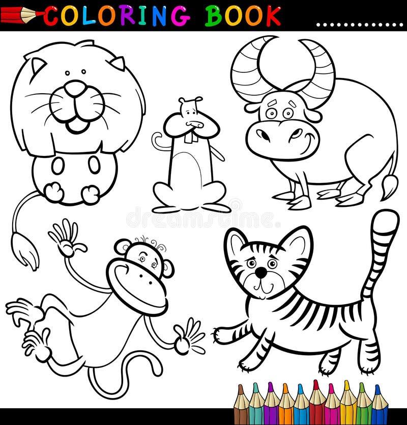 Animales para el libro o la paginación de colorante stock de ilustración