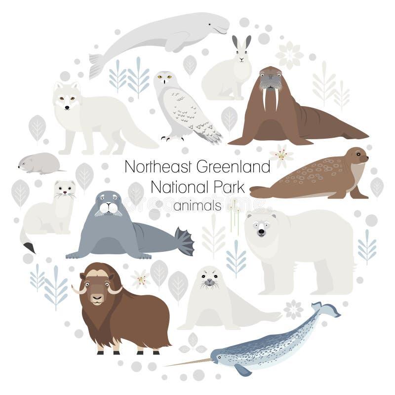 Animales polares Sistema del animal del círculo del vector ilustración del vector
