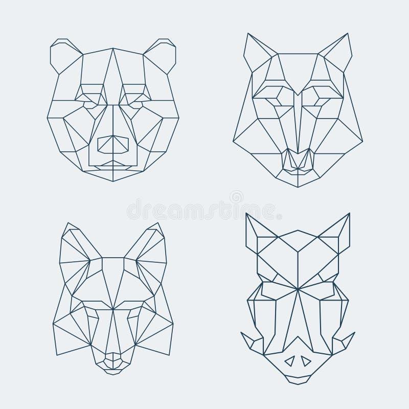 Animales polivinílicos bajos Cabezas del oso y del lobo, del zorro o del jabalí stock de ilustración