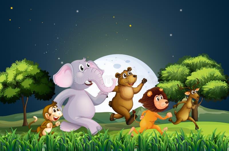 Animales que caminan en medio de la noche libre illustration