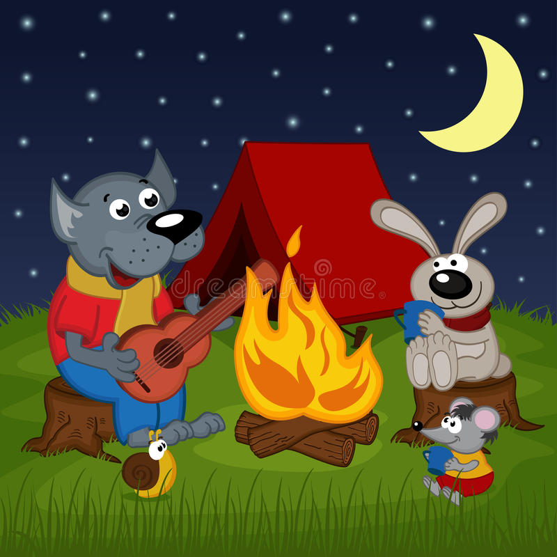 Animales que descansan alrededor de hoguera libre illustration