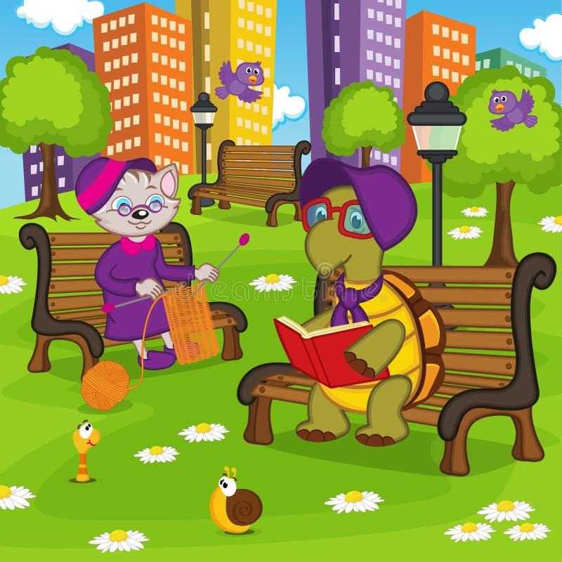 Animales que descansan en parque libre illustration