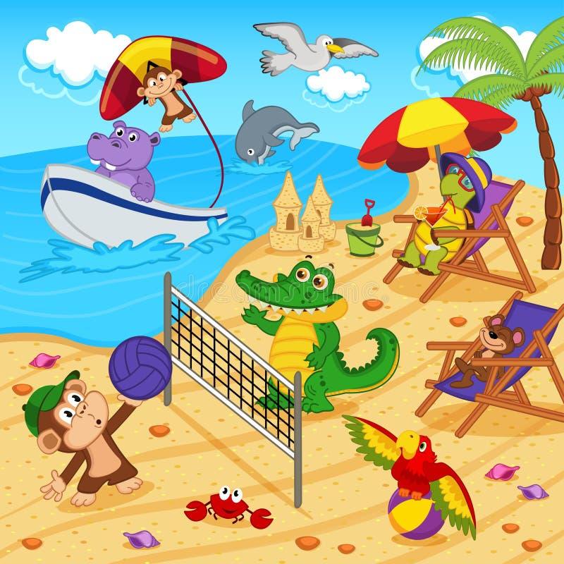 Animales que descansan sobre la playa stock de ilustración
