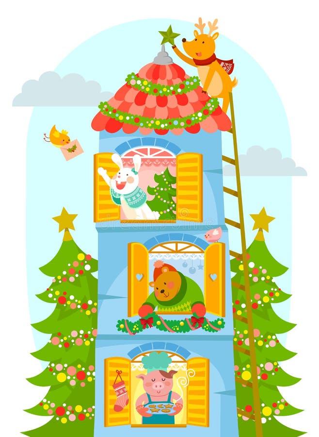 Animales que disfrutan de la Navidad stock de ilustración