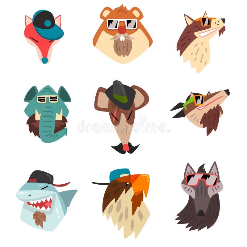Animales que llevan los sombreros y las gafas de sol, ejemplo animal del vector de la historieta de los retratos del inconformist libre illustration