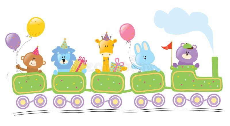 Animales que montan el tren del cumpleaños stock de ilustración