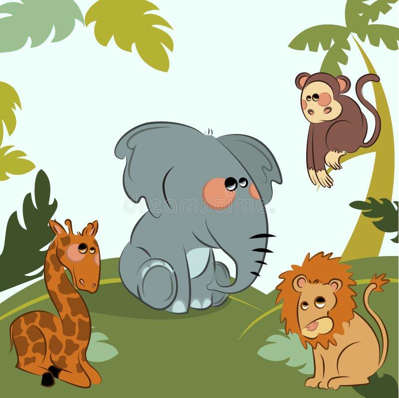 Animales salvajes de la historieta en la selva stock de ilustración