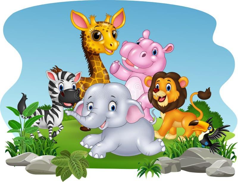 Animales salvajes de la historieta en la selva ilustración del vector