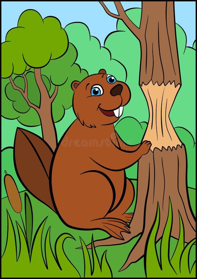 Animales salvajes de la historieta para los niños El pequeño castor lindo se coloca cerca del árbol stock de ilustración