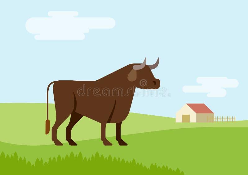 Animales salvajes del diseño del hábitat del campo de hierba de la granja de Bull del vector plano de la historieta stock de ilustración