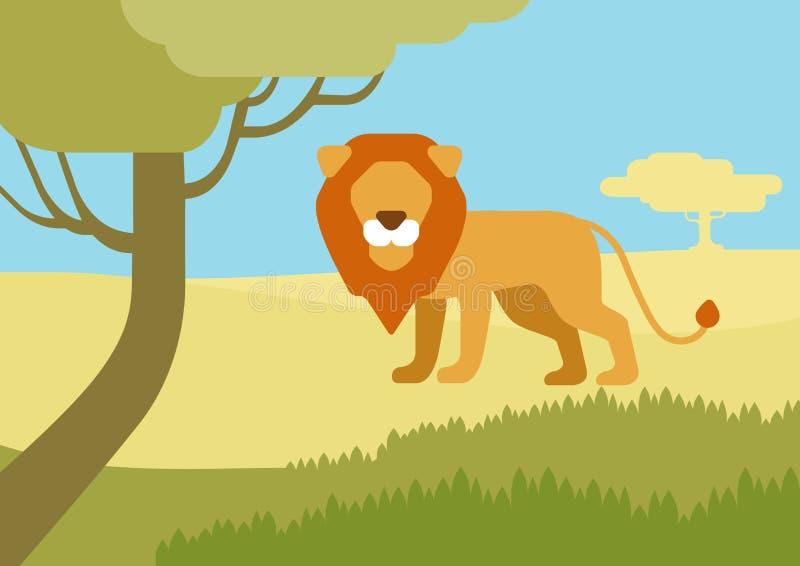 Animales salvajes del diseño del hábitat del león del vector plano de la historieta stock de ilustración