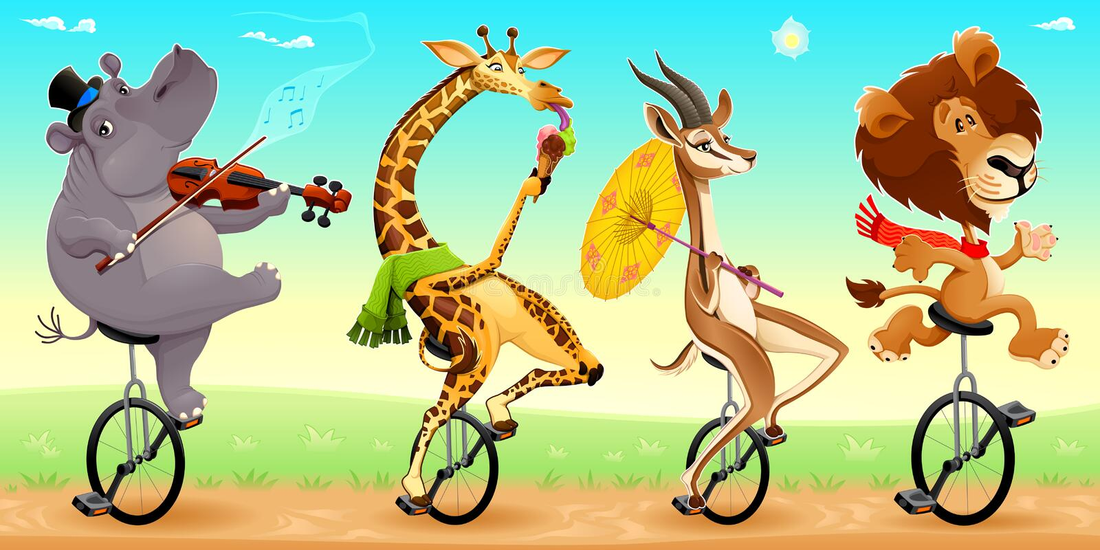 Animales salvajes divertidos en los unicycles stock de ilustración