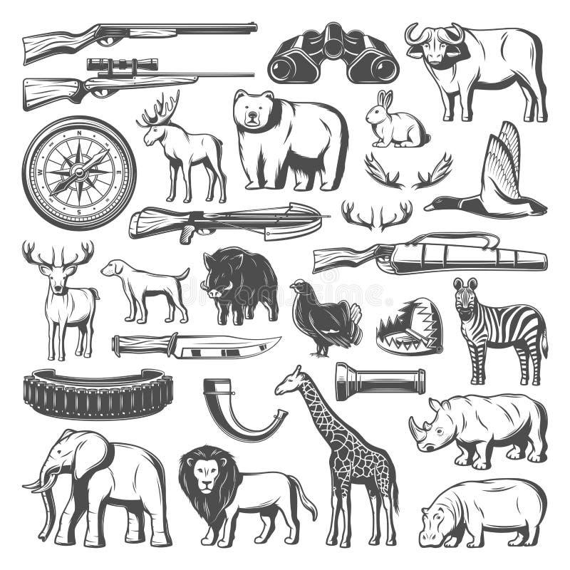 Animales salvajes e iconos del equipo de la caza, vector stock de ilustración
