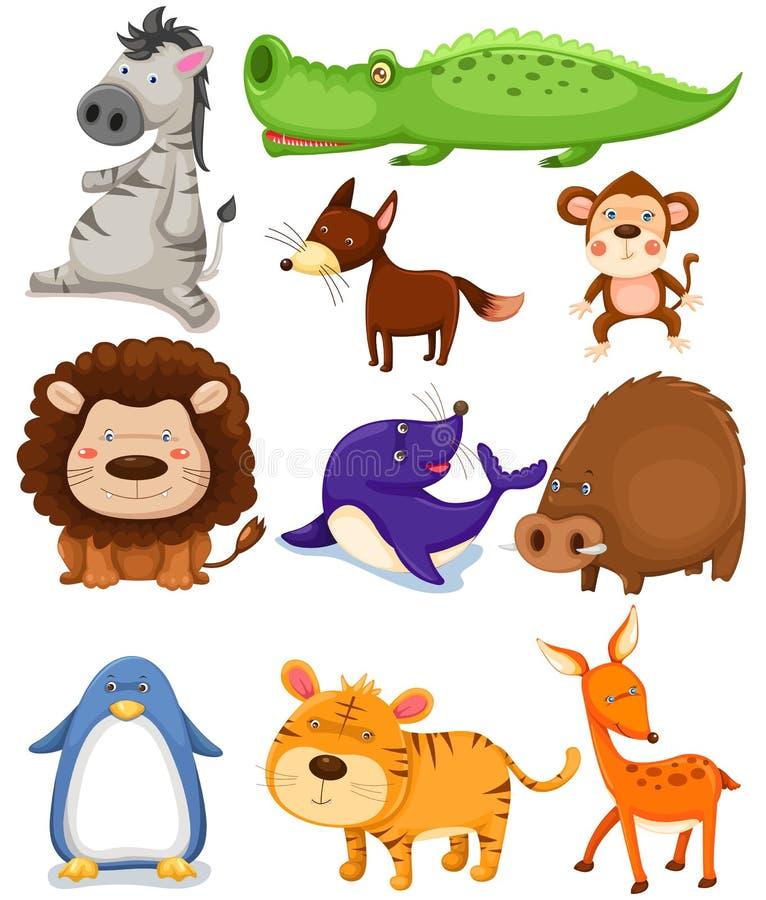 Animales salvajes fijados ilustración del vector