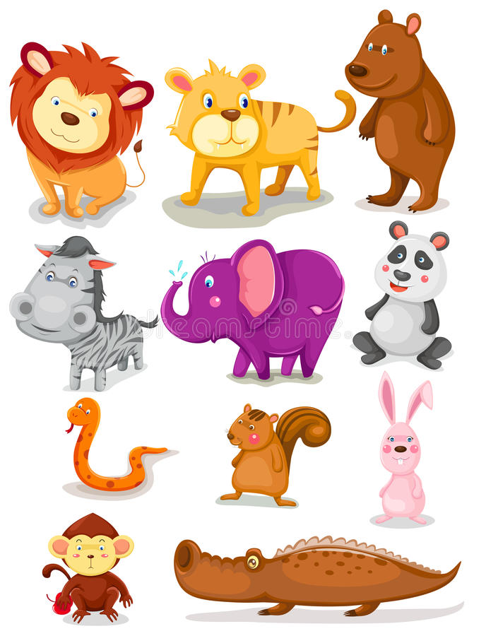 Animales salvajes fijados libre illustration