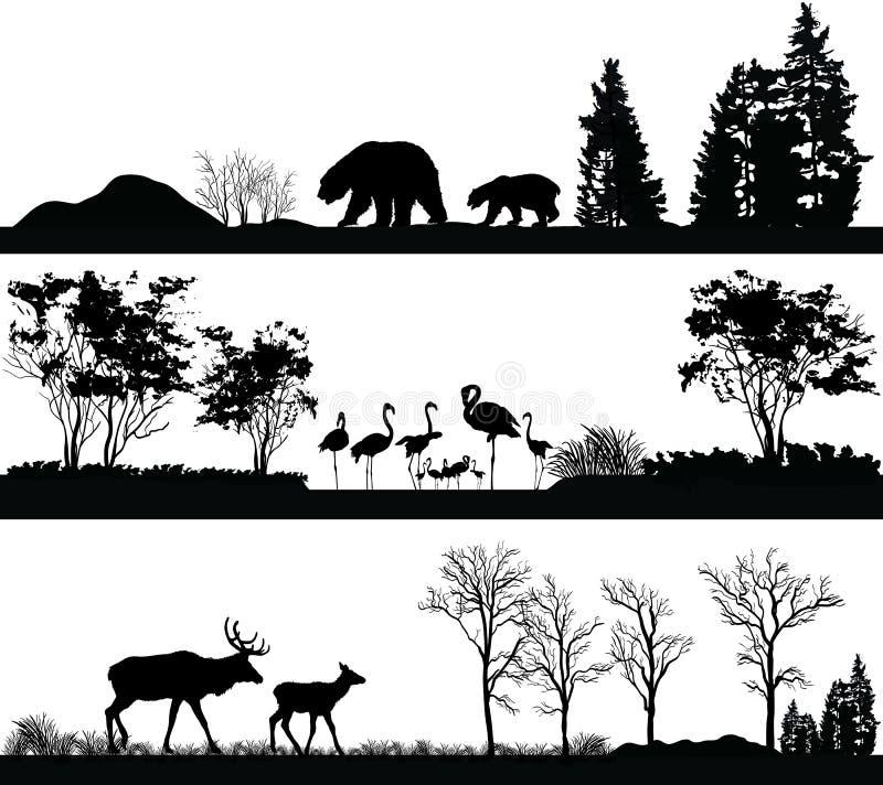 Animales salvajes (oso, flamenco, ciervos) en diversos hábitats stock de ilustración