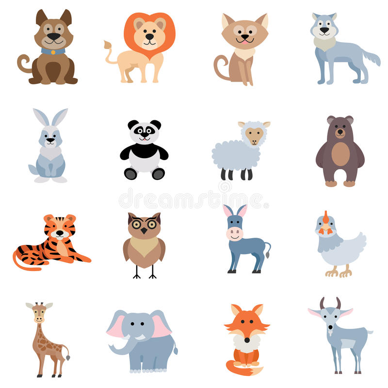 Animales salvajes y caseros fijados ilustración del vector