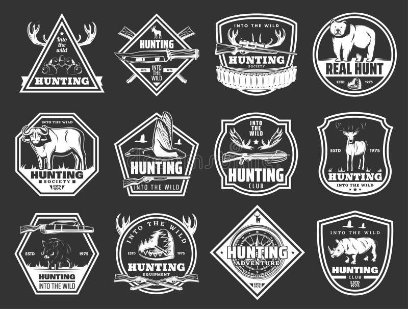 Animales salvajes y pájaros, insignias de la caza del club del cazador libre illustration