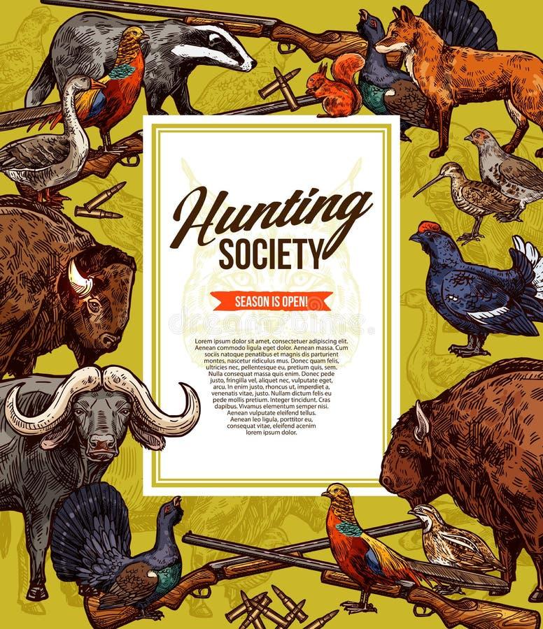Animales salvajes y pájaros Temporada de caza stock de ilustración