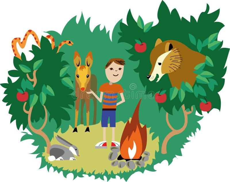 Animales salvajes y ser humano ilustración del vector